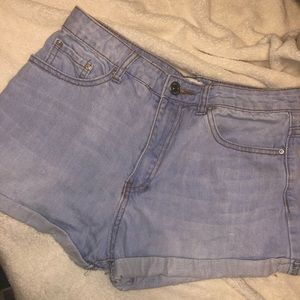 Light Wash Forever 21 Denim Cuff Shorts